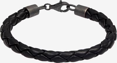 KUZZOI Armband Leder in schwarz / silber, Produktansicht