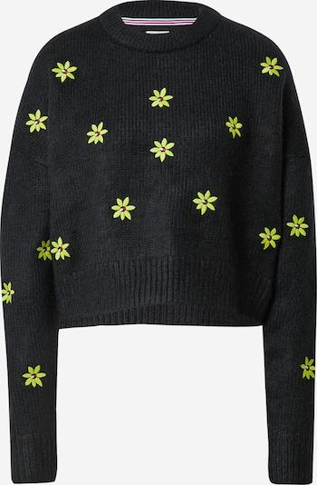 Tommy Jeans Pullover in neongelb / rot / schwarz / weiß, Produktansicht