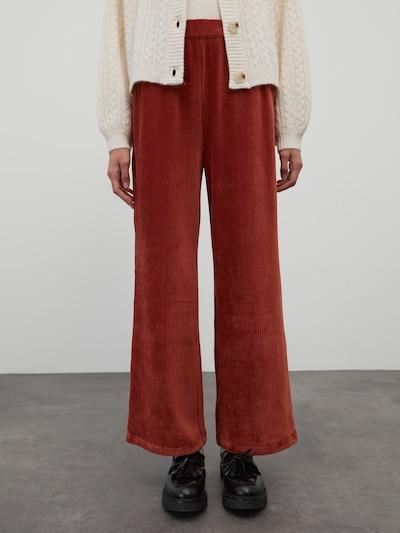EDITED Pantalon 'Gudrun' en marron, Vue avec modèle