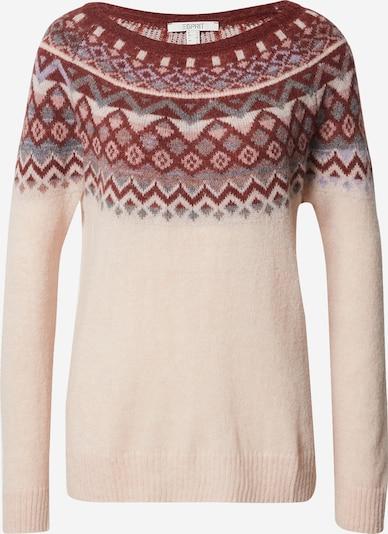 ESPRIT Pullover in nude / grau / dunkelrot, Produktansicht