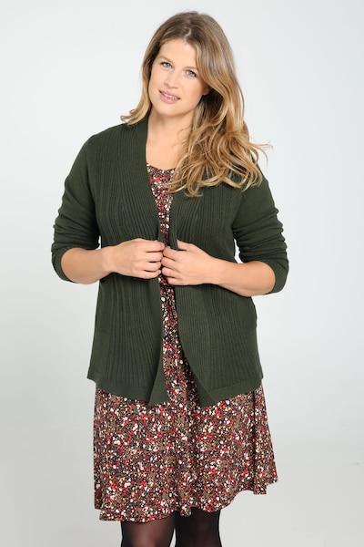 Paprika Strickjacke in dunkelgrün, Modelansicht