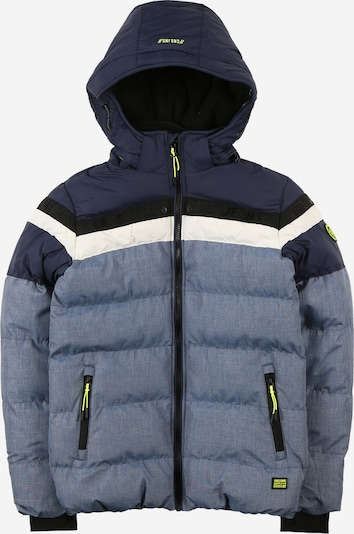 Cars Jeans Jacke 'BYRAM' in navy / blaumeliert / neongrün / schwarz / weiß, Produktansicht