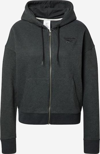 Reebok Sport Αθλητική ζακέτα φούτερ σε μαύρο / λευκό, Άποψη προϊόντος