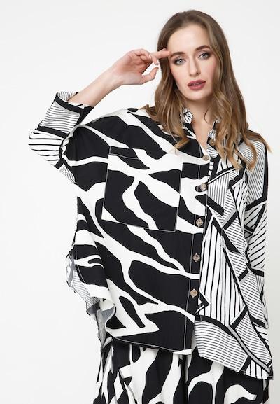 Madam-T Tunika 'CELESTINA' in schwarz / weiß, Modelansicht