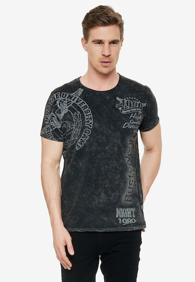 Rusty Neal T-Shirt mit coolem Print in anthrazit: Frontalansicht