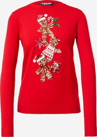 Fashion Union Trui 'GINGER BREAD PYRAMID' in de kleur Gemengde kleuren / Rood, Productweergave