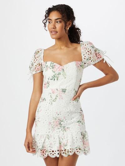 Rochie de vară Love Triangle pe verde / roz / alb, Vizualizare model