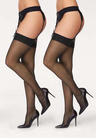 LASCANA Čarape s halterima u crna: Prednji pogled