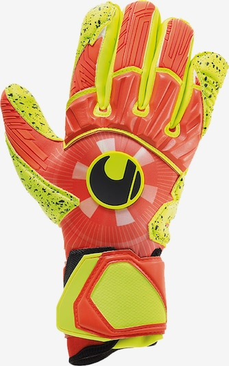 UHLSPORT Handschuh in neongrün / orange: Frontalansicht
