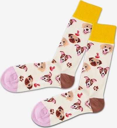 DillySocks Socken in beige / braun / hellbraun / goldgelb / flieder, Produktansicht