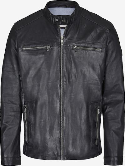 bugatti Lederjacke mit Druckknopfrieglen und Reißverschlüssen in schwarz, Produktansicht
