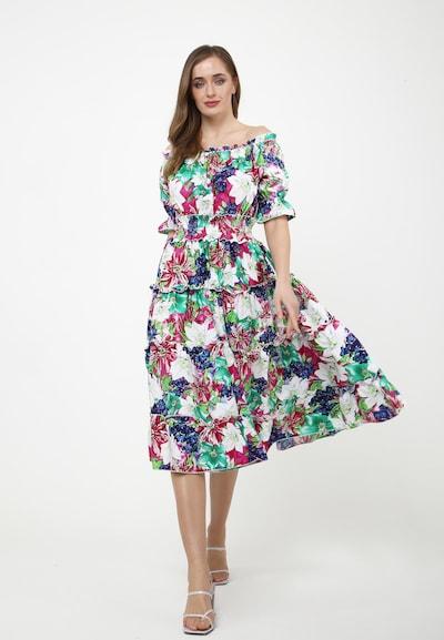 Madam-T Sommerkleid 'FIGARO' in himbeer / weiß, Modelansicht
