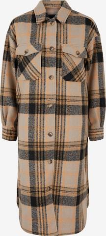 PIECES Between-Seasons Coat in Brown