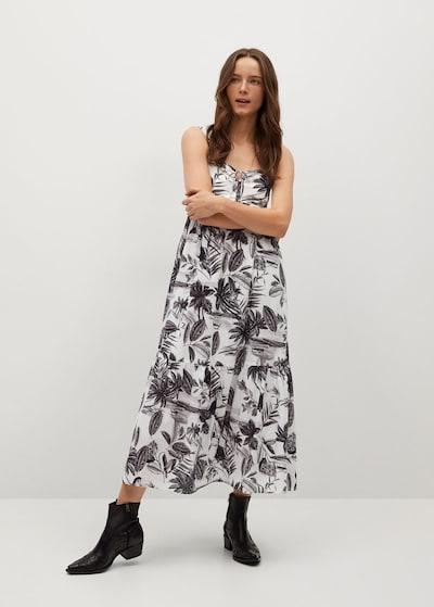 MANGO Kleid in schwarz / weißmeliert, Modelansicht