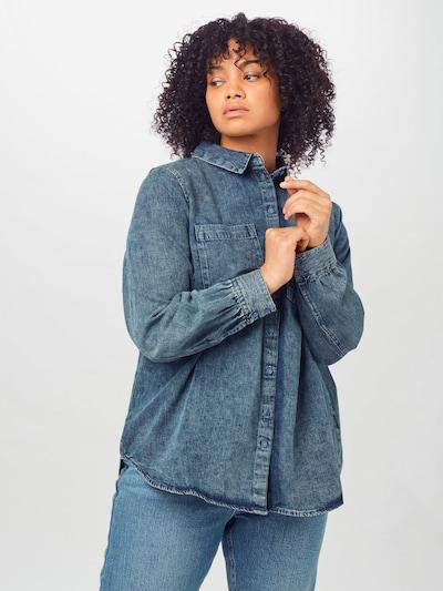 Zizzi Bluse 'JVIC' in blue denim, Modelansicht