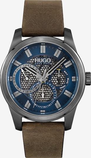HUGO Аналогов часовник '#SKELETON' в синьо / кафяво / сиво, Преглед на продукта