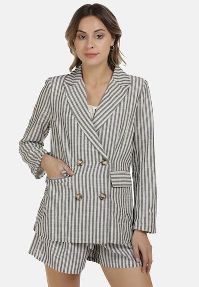 DreiMaster Vintage Blazer in grau / weiß, Modelansicht