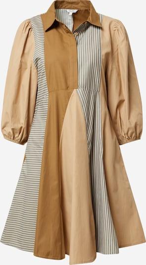 Rochie tip bluză 'Evolette' mbym pe bej deschis / maro deschis / gri fumuriu / alb, Vizualizare produs