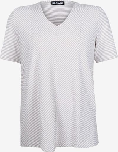 seeyou V-Shirt mit Diagonalstreifen in beige / weiß / naturweiß, Produktansicht