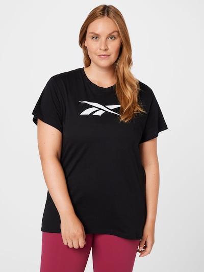 Reebok Sport Функционална тениска в черно / бяло: Изглед отпред