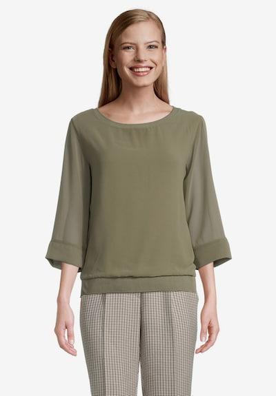 Betty & Co Blusenshirt mit Webbesatz in grasgrün, Modelansicht