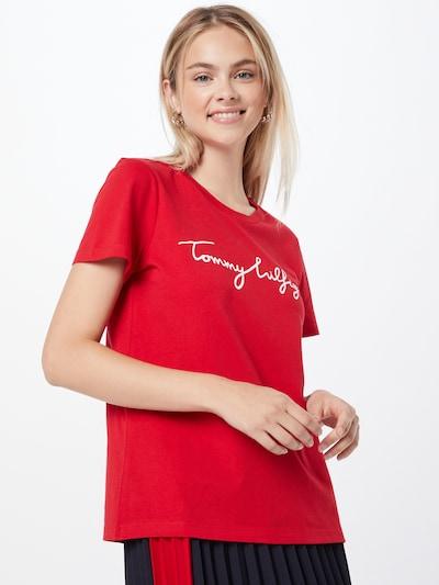 TOMMY HILFIGER Тениска в червено / бяло: Изглед отпред