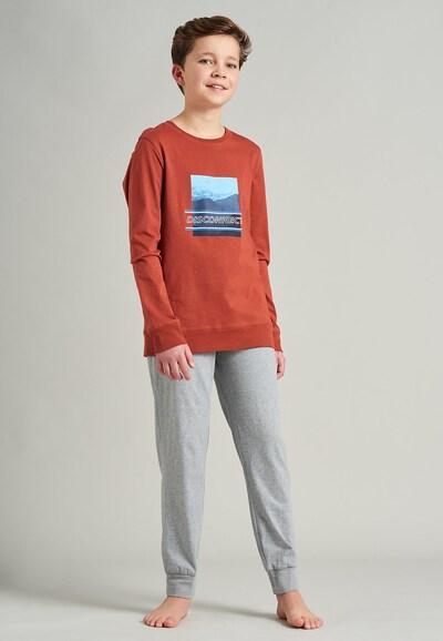 SCHIESSER Schlafanzug in navy / hellblau / rostbraun / grau: Frontalansicht
