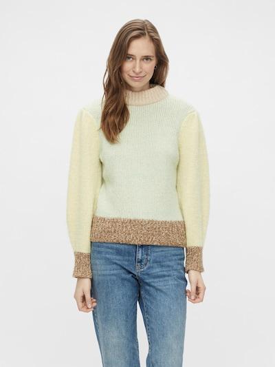 PIECES Tröja 'Felisia' i beige / brunmelerad / ljusgul / mint: Sedd framifrån