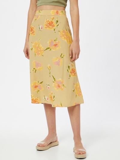 PIECES Jupe 'TIANNA' en sable / jaune / vert / rose: Vue de face