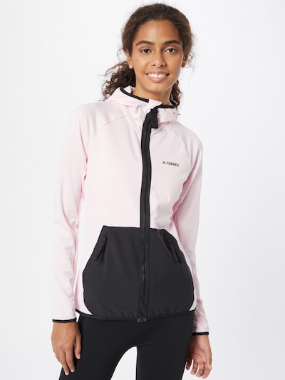 ADIDAS PERFORMANCE Athletic Jacket 'Tech Lite' in Dark grey / Pink: Frontal view