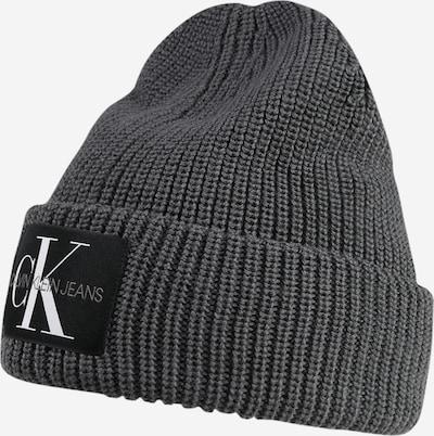 Calvin Klein Jeans Beanie in dunkelgrau / schwarz / weiß, Produktansicht