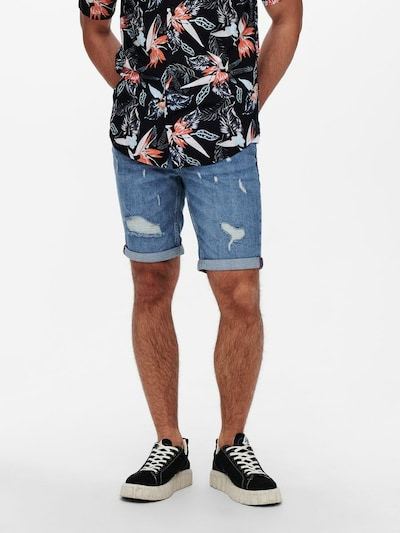 Only & Sons Jeans in de kleur Blauw, Modelweergave