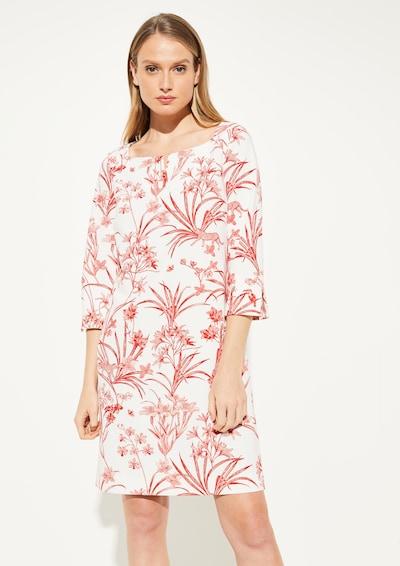 COMMA Kleid in creme / hellrot / dunkelrot / weiß, Modelansicht