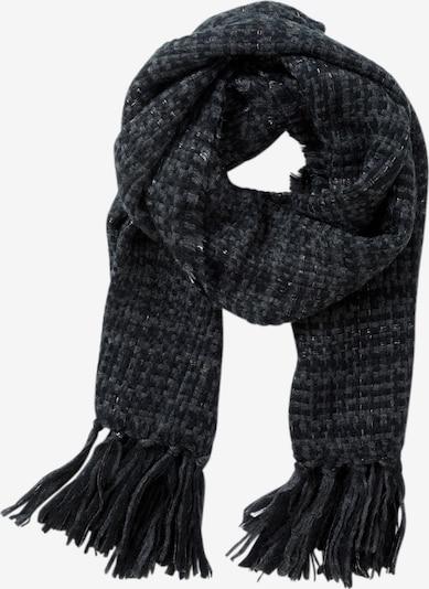 Cartoon Basic-Schal mit Fransen in grau / schwarz: Frontalansicht