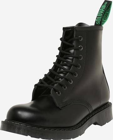 juoda Solovair Auliniai batai su raišteliais '8 Eye Derby'