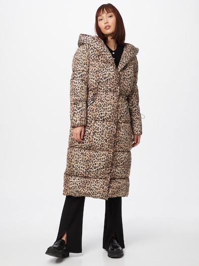 River Island Zimný kabát 'LEOPARD' - béžová / hnedá / tmavohnedá, Model/-ka