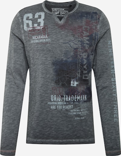 CAMP DAVID Shirt in grau / hellrot / schwarz, Produktansicht