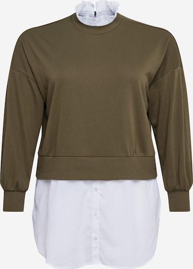 Noisy May Curve Sweatshirt 'Hannah' in oliv / weiß, Produktansicht