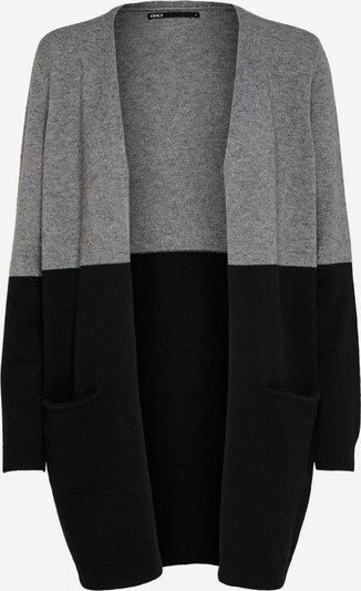 ONLY Long Strickjacke in grau / schwarz, Produktansicht