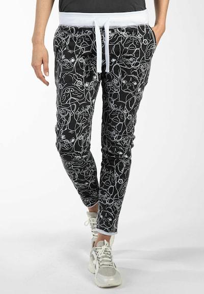 ViertelMond Hose 'Vicky' in dunkelgrau / weiß, Modelansicht