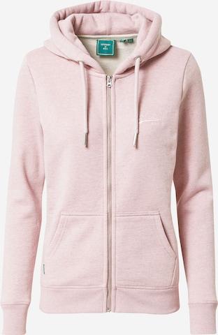 Superdry Sweat jacket in Pink