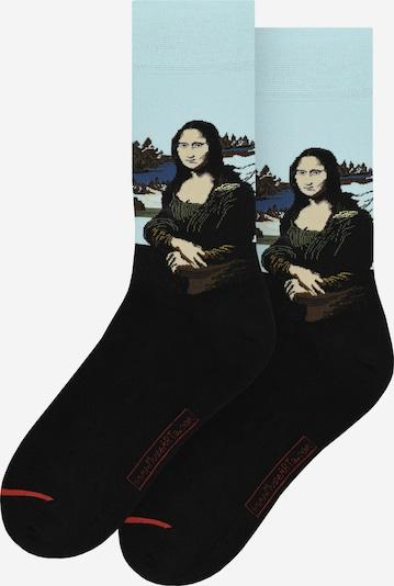 MuseARTa Socken 'Mona Lisa' in beige / himmelblau / rot / schwarz, Produktansicht