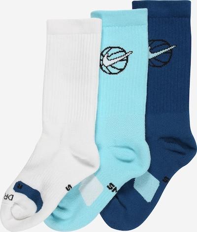 NIKE Chaussettes de sport en turquoise / bleu foncé / noir / blanc, Vue avec produit