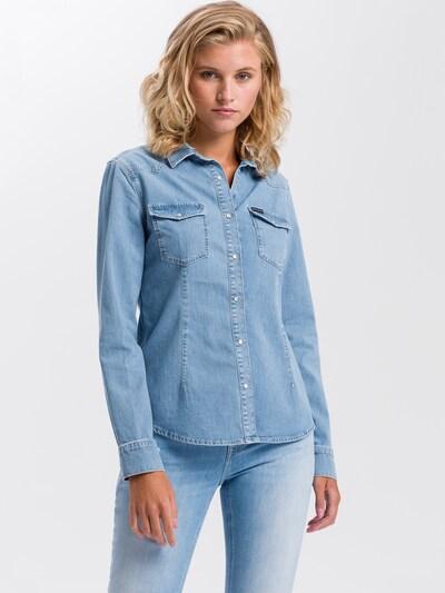 Cross Jeans Bluse in blau, Modelansicht