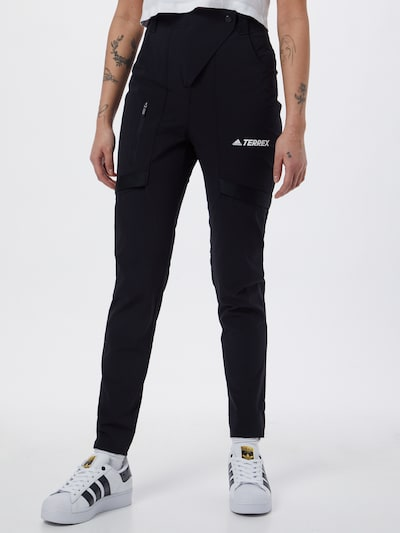 adidas Terrex Outdoor Pants 'Zupahike' in Black / White: Frontal view