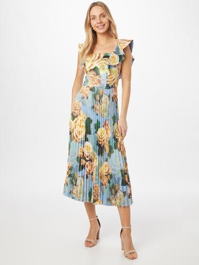 Chi Chi London Kleid in hellblau / pastellgelb / smaragd / dunkelgrün / hellorange, Modelansicht