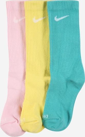 NIKE Chaussettes de sport en jaune / jade / rose / blanc, Vue avec produit