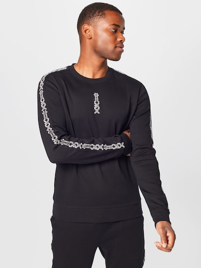 HUGO Sweat-shirt 'Doby' en noir / blanc: Vue de face