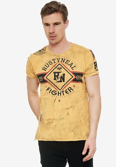 Rusty Neal Cooles T-Shirt aus weicher Baumwolle in gelb: Frontalansicht