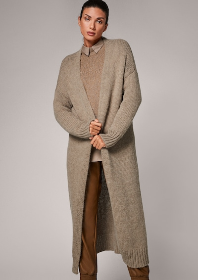 COMMA Knitted Coat in Brown, View model